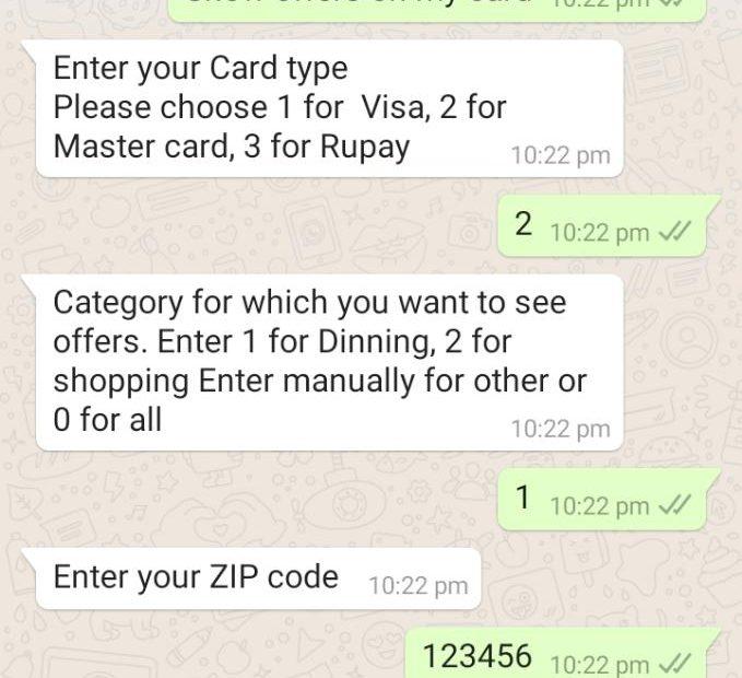 Bank offers on WhatsApp